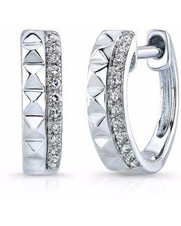 White Gold Spike & Diamond Huggie Earrings