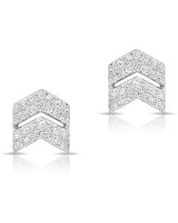 White Gold Diamond Double Maverick Chevron Diamond Stud Earrings
