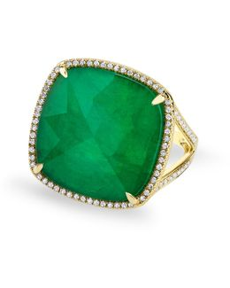 Yellow Gold Emerald Diamond Triplet Cushion Cut Luxe Cocktail Ring