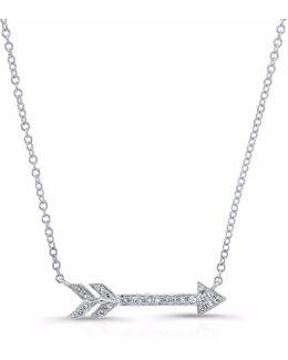 White Gold Diamond Arrow Necklace