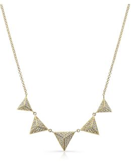 14kt Yellow Gold Diamond Five Triangle Necklace