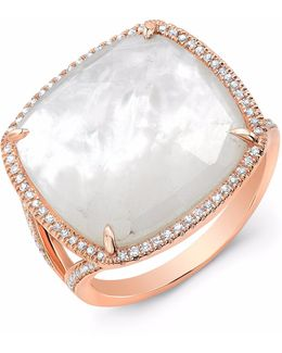 Rose Gold Mother Of Pearl Diamond Doublet Ring