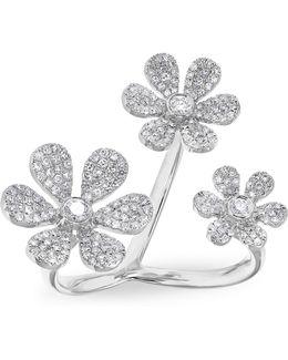 White Gold Diamond Floating Triple Daisy Flower Ring
