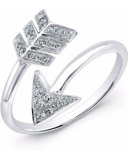 White Gold Diamond Wrap Around Arrow Ring