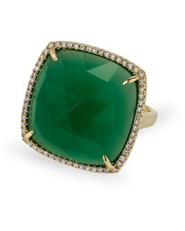 14kt Yellow Gold Green Agate Diamond Triplet Cushion Cut Cocktail Ring