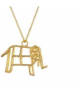 Frame Elephant Necklace Gold