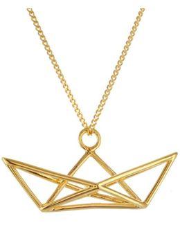 Frame Boat Necklace Gold