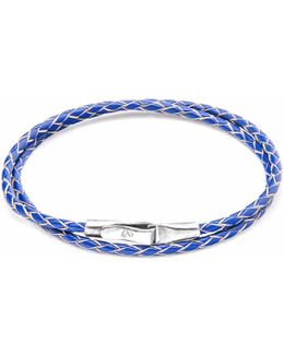 Royal Blue Liverpool Silver & Leather Bracelet