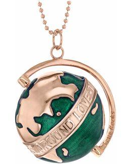 Large Globe Necklace Rose Gold & Green Enamel