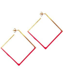 Gold & Hot Pink Square Hoops