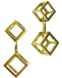 Gold Double Cube Drop Earrings