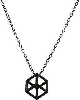 Oxidised Silver Cube Pendant