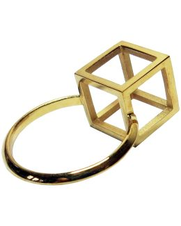 Gold Cube Detail Ring