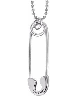 Medium Safety Pin Necklace Silver