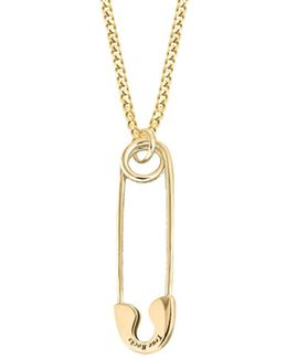 Safety Pin Necklace Small Gold
