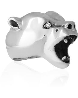 Bear Ring Silver With Diamonds