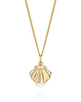 Shell And Pearl Necklace Gold