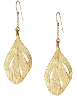 Maxi Swan Feather Earrings Gold