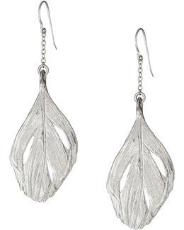 Maxi Swan Feather Earrings Silver