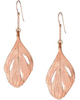 Maxi Swan Feather Earrings Rose Gold
