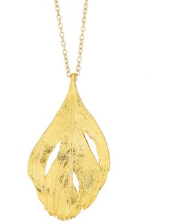 Maxi Swan Feather Necklace Gold