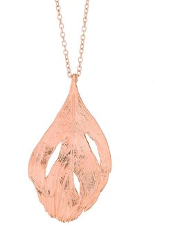Maxi Swan Feather Necklace Rose Gold