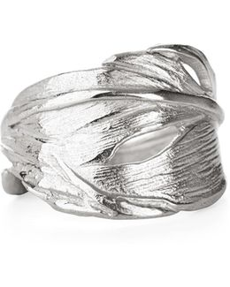 Swan Feather Ring In Silver