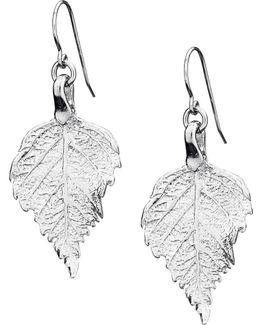 Tiny Raspberry Leaf Earrings Silver