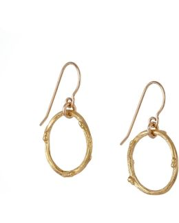 Hawthorn Twig Infinity Earrings Gold