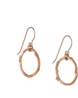 Hawthorn Twig Infinity Earrings Rose Gold