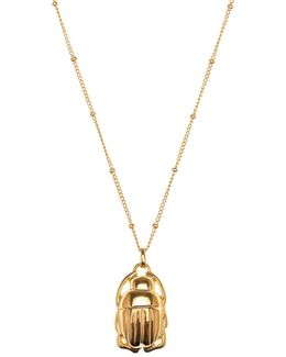 Mini Scarab Necklace Gold
