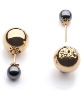 Orb And Pearl Stud Earrings