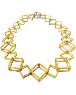 Gold Geometric Box Link Necklace