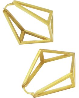 Gold Inverted Kite Hoop Earrings