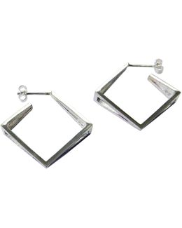 Med Silver Kite Hoop Earrings