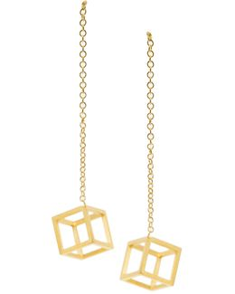 Gold Cube Drop Earrings