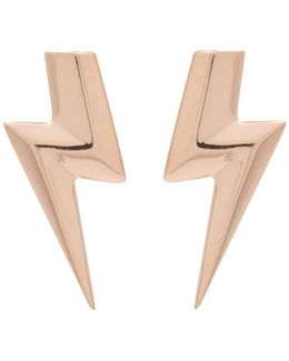3d Flat Top Lightning Bolt Earrings Gold