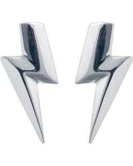 3d Flat Top Lightning Bolt Earrings Silver