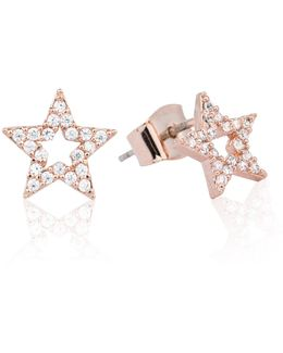 Tricks Star Stud Earrings Rose Gold