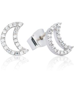 Tricks Moon Stud Earrings Silver