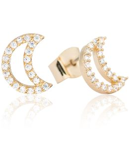Tricks Moon Stud Earrings Gold