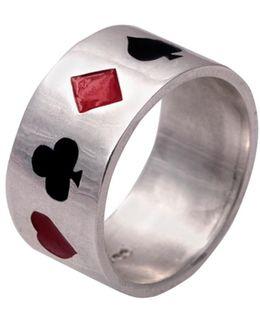 Poker Ring Enamelled Silver