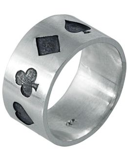 Poker Ring Oxidised Silver