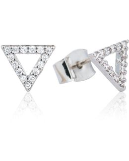 Tuxedo Triangle Earrings Silver