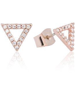 Tuxedo Triangle Earrings Rose Gold