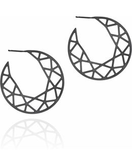 Black Brilliant Diamond Hoop Earrings