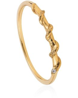 Tiny Snake Ring Diamonds & Gold Vermeil