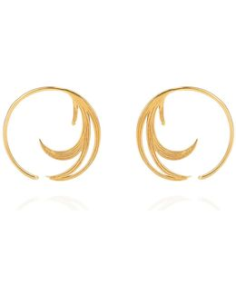 Duck Feather Hoop Earrings Gold Vermeil