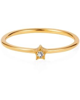 Tiny Star Ring White Sapphire & Gold