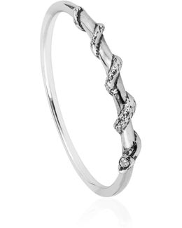 Tiny Snake Ring Diamonds & Silver